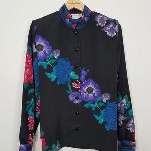 Vintage Shrader Sport Floral Button Up Blouse - 10